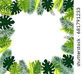 frame with tropical leaves | Shutterstock .eps vector #681791233
