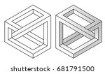 impossible figures  linear and...   Shutterstock .eps vector #681791500