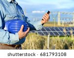 engineer with smart phone in... | Shutterstock . vector #681793108