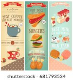 coffee  fast food  ice cream... | Shutterstock .eps vector #681793534