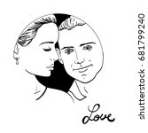 beautiful young couple in love  ... | Shutterstock .eps vector #681799240