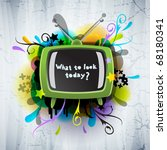 abstract poster with the tv | Shutterstock .eps vector #68180341