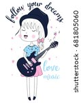 love music and little girl... | Shutterstock .eps vector #681805060