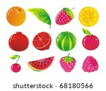 set from juicy fruit and ripe...   Shutterstock .eps vector #68180566