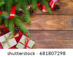 green branches of the christmas ... | Shutterstock . vector #681807298