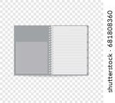 spiral notebook icon. realistic ... | Shutterstock .eps vector #681808360