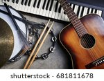 a group of musical instruments... | Shutterstock . vector #681811678