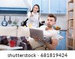 conflict between working wife... | Shutterstock . vector #681819424