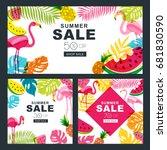 summer sale vector banners set... | Shutterstock .eps vector #681830590