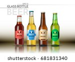 a realistic glass bottle. beer... | Shutterstock .eps vector #681831340