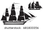 Ship of the line and Barquentine silhouettes, Sailing Ship vector illustration series