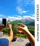 mountains  champagnes in hand | Shutterstock . vector #681834610
