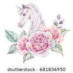 watercolor floral logo with... | Shutterstock . vector #681836950