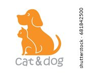 cat and dog pet logo template... | Shutterstock .eps vector #681842500