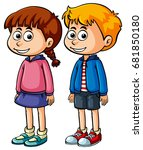 boy and girl with happy face... | Shutterstock .eps vector #681850180