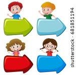 happy children and arrow signs... | Shutterstock .eps vector #681851194
