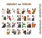 alphabet with animals  fox ... | Shutterstock .eps vector #681854743