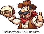 mexican cowboy holding a taco....   Shutterstock .eps vector #681854896