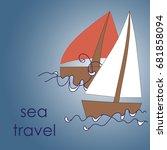 illustration of a boat | Shutterstock .eps vector #681858094
