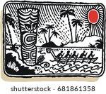vector illustration of fierce... | Shutterstock .eps vector #681861358