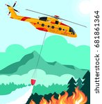 rescue helicopter extinguishes... | Shutterstock .eps vector #681861364