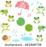 frogs and rain illustration set | Shutterstock .eps vector #681868738