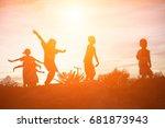 silhouette of a happy children...