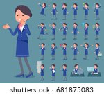 set of various poses of flat... | Shutterstock .eps vector #681875083