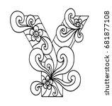 zentangle stylized alphabet.... | Shutterstock .eps vector #681877108
