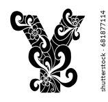 zentangle stylized alphabet.... | Shutterstock .eps vector #681877114