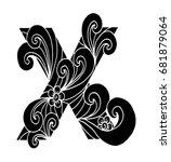 zentangle stylized alphabet.... | Shutterstock .eps vector #681879064