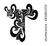zentangle stylized alphabet.... | Shutterstock .eps vector #681881374