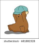 a cute bear with a blue hat.... | Shutterstock .eps vector #681882328