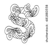 zentangle stylized alphabet.... | Shutterstock .eps vector #681883558