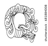 zentangle stylized alphabet.... | Shutterstock .eps vector #681884008