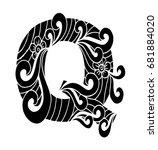 zentangle stylized alphabet.... | Shutterstock .eps vector #681884020