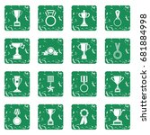 trophy icons set in grunge... | Shutterstock .eps vector #681884998