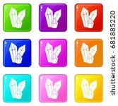 diamonds icons of 9 color set... | Shutterstock .eps vector #681885220