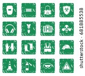 safety icons set in grunge... | Shutterstock .eps vector #681885538