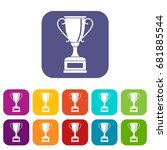 winning gold cup icons set... | Shutterstock .eps vector #681885544