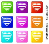 heart lgbt icons of 9 color set ... | Shutterstock .eps vector #681886234