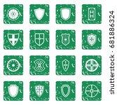 shield frames icons set in... | Shutterstock .eps vector #681886324