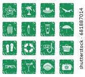 summer rest icons set in grunge ... | Shutterstock .eps vector #681887014