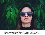 hipster woman face wears black... | Shutterstock . vector #681906280