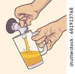 illustration of man pouring... | Shutterstock .eps vector #681913768