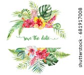 watercolor tropical floral... | Shutterstock . vector #681917008