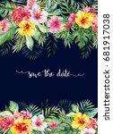 watercolor tropical floral... | Shutterstock . vector #681917038