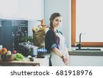 young woman standing by the... | Shutterstock . vector #681918976