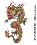 dragon tattoo patch embroidery... | Shutterstock .eps vector #681922123