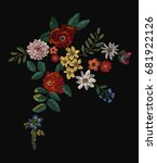 flowers patch embroidery  2 | Shutterstock .eps vector #681922126
